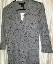 NEW **Calvin Kein**  Jeans Ladies Gray/Black Cotton Blend Shirt, Small
