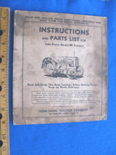 Vintage 1935 John Deere Model Br Tractor Instruction/Parts Manual, 40 pages