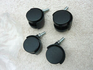 4 X Twin Office Chair Furniture Castor Wheel Wheels Black Plastic Never Used