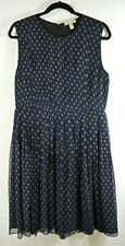 NEW Burberry Brit Silk Pleated Printed Dress in Navy - Size 12