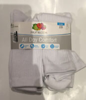 Fruit Of The Loom Womens All Day Comfort Crew Socks Size 4-10 Pack Of 6 White