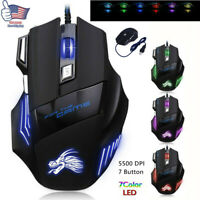 Pro LED Optical USB Wired Gaming Mouse 7Button Gamer Laptop Computer Mice5500DPI
