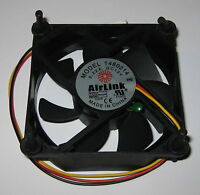 Airlink 80 mm 12V DC Quiet Cooling Fan - Vibration Mounts / Thermistor - 1680214