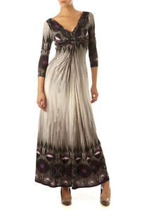 Linea House of Fraser RRP £60 Grey Purple Ikat Print Maxi Dress  Fast Shipping