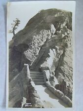 Sequoia National Park Real Photo Unused Postcard Moro Rock Stairs View Rppc Ca