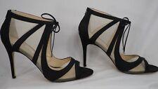 Nina New York 'Cherie' Black Satin/Sheer Laced Sandal Dress Pump Women Size 10 M