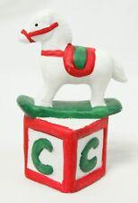 Vintage White Red Green Ceramic Rocking Horse on Letter Block Christmas Ornament