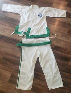 Vtg Bear Brand Made Korea White Student Taekwondo Martial Arts 3 Green Belt