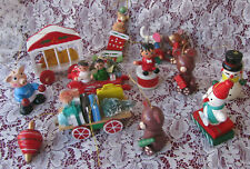 Vintage Wooden Ornaments Lot of 13 Bears Pig Snowman Wagon Lion Top