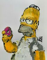 Original Abstract Homer Simpson Eating Donut Wall Art Acrylic Painting Simpsons