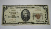 $20 1929 Linton Indiana IN National Currency Bank Note Bill Ch. #7411 VF+!