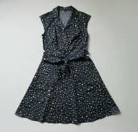 Ann Taylor Fit & Flare in Navy Polka Dot Stretch Cotton Belted Shirt Dress 0
