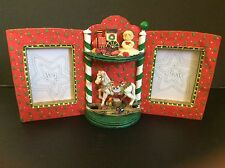 Christmas Holiday Picture Frame with Rocking Horse and Toys - Holds 2 photos