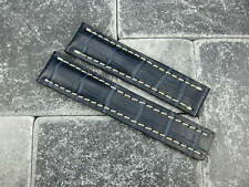 20mm Leather Strap Navy Blue Deployment Watch Band BREITLING NAVITIMER 20