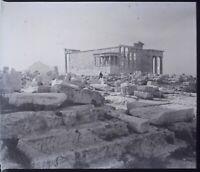 GRÈCE Athènes Acropole Temple Archéologie, NEGATIF Photo Stereo Plaque Verre