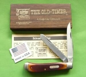 """Schrade USA made """"94OT"""" Old Time """"Gunstock Trapper"""" MIB/Papers"""