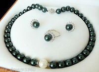 GENUINE 10MM DARK GREEN SOUTH SEA SHELL PEARL NECKLACE RING STUD EARRING SET