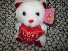 White Plush small Teddy Bear heart I love you mothers day gift rare