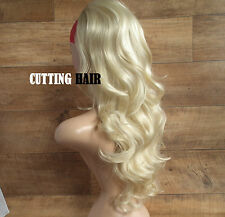 Light Blonde 3/4 Full Long Curly / Wavy Layers Half Wig Hairpiece 053-613