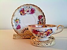 Vintage Royal Sealy Tea Cup and Saucer~Pansies~Gold Trim~Beautiful