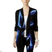 NWT INC International Concepts Goddess Blue Black Open Front Sweater Cardigan PM