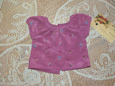 American Girl Floral Top fr Field Trip Outfit Ec Brushed Suede Flowers Pink