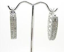 1/2CTW Natural Genuine Diamond Hoop Earrings~925 Sterling Silver~Pretty