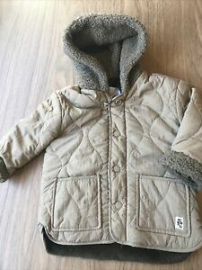 Boys Beige Hooded Winter Coat From Zara Age 12-18 Months With Faux Fur Lining