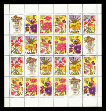 Russia 1996 Flowers, MNH Mini sheet of 20 + 4 labels (Scott #6306a)