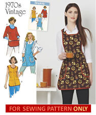 SEWING PATTERN! MAKE RETRO 70S VINTAGE STYLE FULL APRONS~SMOCKS 4 STYLES & SIZES