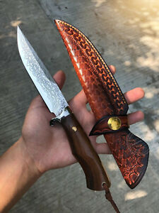 VG10 DAMASCUS HUNTING KNIFE HANDCRAFTED SURVIVAL BOWIE KNIFE FIXED BLADE SHEATH