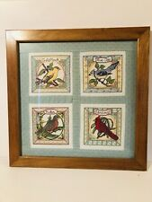 Vintage Completed Counted Cross Stitch Birds - Picture Custom Framed Nice!