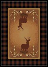 "5x8 (5'3"" x 7'2"") Lodge Cabin Southwestern Deer Buck Antler  Area Rug"