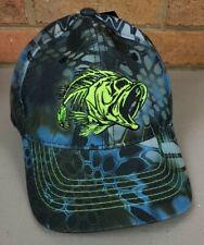Kryptek Honeycomb Camo Hat Cap Blue Fish Skeleton Logo Osfm