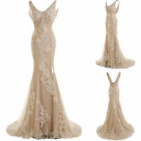 Mermaid Tulle Vintage Wedding Dress Backless Bridal Gown Custom Size 2 4 6 8 10+
