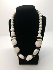 White Stone with red splatters Brown spacers Necklace Statement piece Fashion