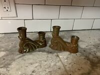 Vintage Frankoma Pottery # 304 Green Candle Holder Double Candlestick
