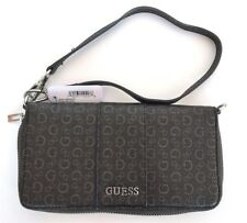 NEW GUESS WARE NATURAL BROWN SAFFIANO PVC ,ZIP AROUND, WALLET,CLUTCH,WRISTLET