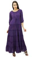 Bimba Womens Purple 3/4 Sleeve Summer Cotton Maxi Dress Drawstring Waist Tiered