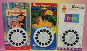 NEW VIEW MASTER 3D VTG 1995 TYCO UK - DISNEY POCAHONTAS Lion King Pooh 3 x REELS
