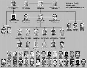 CHICAGO OUTFIT WANTED POSTER 8.5X11 PHOTO MAFIA FAMILY CHART TREE MOBSTER GANG