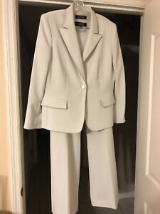REDUCED! Free Shipping! Kasper 3 Pc Pant Suit Pale Gray w/ Silver Trim - Size 16