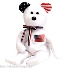 """TY Beanie Babie Baby * AMERICA WHITE * With Blue Right Ear 9"""" Tall 04409"""