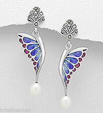 """1.6"""" Sterling Silver Marcasite Pearl Enamel Wing Butterfly Earrings 4g BEAUTIFUL"""