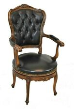 French Style Black Leather Swivel Arm Chair