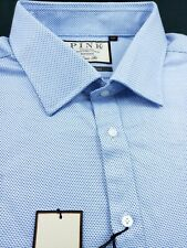 Thomas Pink Classic Fit Double French Cuff Textured Blue Check Shirt 18 x 35/36