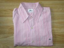 Mens LACOSTE Pink Long Sleeve Striped Pattern Shirt Sz 41 / M Medium VGC