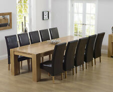 Rutland Chunky Oak Furniture Extra Large Dining Table and 10 Roma Chairs