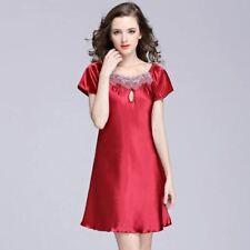 Women Sweet Young Silk Nightgown Printed Fashion Knee-length Girl Sleepwear