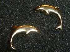 10K SOLID YELLOW GOLD DOLPHIN STUD EARRINGS